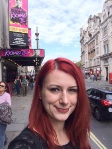 Me in front of Trafalgar Studios